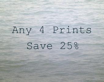 Any Four Photos, Set of Four Photographs, Customize Your Print Set, Save 25%, Fine Art Photography Set, Picture Set