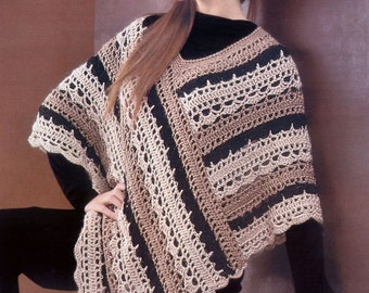 Instant Download Crochet PDF Pattern - Crochet Striped Poncho. Adult size.