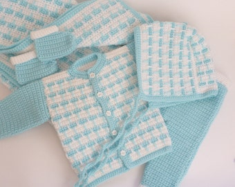 Instant Download Crochet PDF Pattern - 5pcs Newborn Baby Set - blanket, top, pants, bonnet, booties