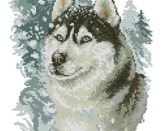 Instant Download Counted Cross Stitch PDF Pattern N16LD - Brave husky