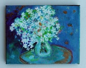 Abstract Floral Still Life Acrylic Painting White Spring Lilacs in Vase on Small Canvas