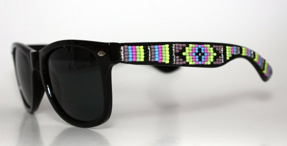 Beaded Wayfarer Sunglasses Purple
