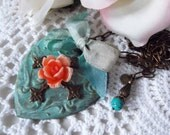 Large Verdigris Heart,  Chocolate Ox Cross, Vintage Rose, Hand Dyed Ribbon, Heart and Bow, Heart Pendant, Romantic Pendant, Patina Heart