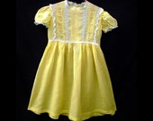 Vintage 1940s Little Girls' Yellow Dotted Swiss Dress w. Charming Pin-tucking, Lace & Embroidery