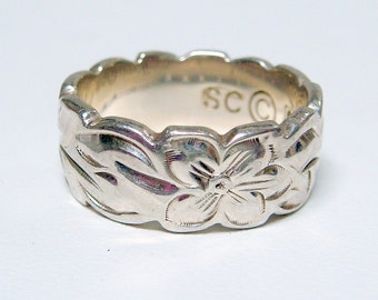 STERLING Art Deco / Art Nouveau Style Floral Carved Band Ring - Size 6