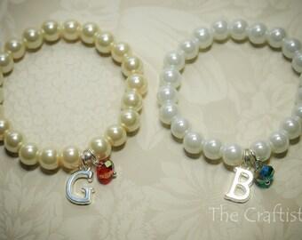 Personalized Flower Girl Bracelet - AP - Personalized Girl Bracelet, Pearl Bracelet, Birthstone Bracelet, Crystals, Flower Girl Gift