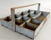 vintage industrial tool caddy, metal,tote