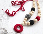 Dark red, grey and black nursing necklace with wooden ring. Mammy and baby teething ring necklace. Girls crochet necklace.
