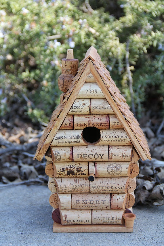 Peak house birdhouse wood and wine corks by carefullycorked for How to build a birdhouse out of wine corks