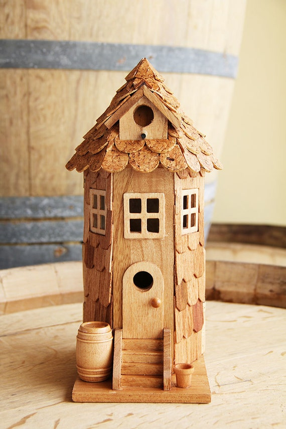 Tower Birdhouse Wood And Wine Corks By Carefullycorked On Etsy