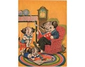 Ruth E Newton Vintage Dog Print, 1930s Childrens Book Page, Father Dog Reading to Puppies Baby Room Decor, Kids Room Art, Print to Frame