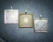 12 DIY Square Pendant for jewelry making 1 inch Trays blank Bezels Settings Beaded edged vintage style 25 mm Photos Charms LEAD FREE