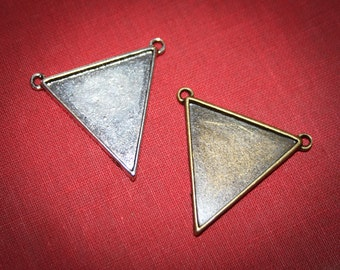 Triangle Pendant setting connector Silver or Bronze with two bails greatbfor DIY Jewelry making Necklace , Bracelet FREE shipping offer