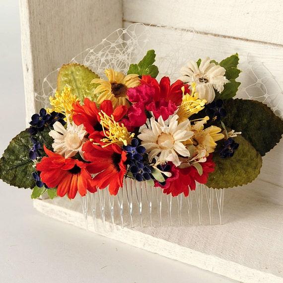 Woodland Flower Comb, Rustic Floral Hair Piece, Wedding Flower Headpiece, Wildflowers, Vintage Flowers