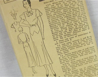 Vintage 30s Dress Sewing Pattern, Excella, E3729