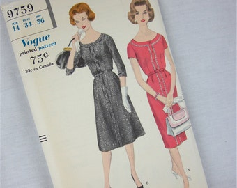 Vintage 1959 Dress Sewing Pattern, Vogue, 9759