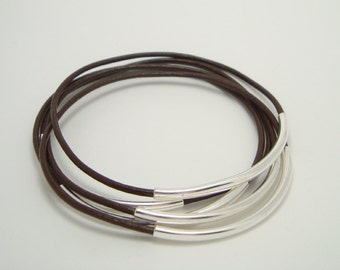 Chocolate Brown Leather Bangle Bracelets with Silver Plated Curved Tubes - Set of 5 - Minimalist Jewelry - Rocker Country