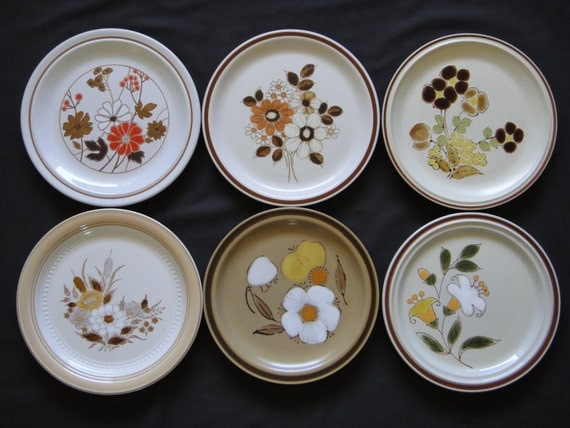vintage rustic mix and match dinner plates by theoddbin on etsy. Black Bedroom Furniture Sets. Home Design Ideas