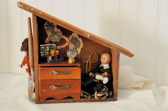 Shadowbox Voodoo creepy house assemblage art mixed media with woman and found objects and vintage items