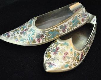Etched Brass Shoe ashtrays. Vintage. Pair. Fabulous.