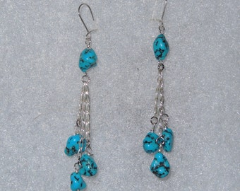 Campitos Turquoise Nuggets and Sterling Silver Chain Dangling Earrings - Silver Chain and Deep Blue Turquoise Earrings