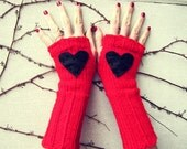 Heart Fingerless Gloves Red Black Knitted Crochet Long Hand Warmers Womens