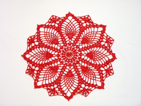 Dark pink small pineapple crochet doily