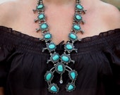 Sold to J Vintage Navajo Sterling Silver Royston Turquoise Squash Blossom Necklace Cir 1950's 268 Grams