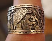 Beautiful Large Heavy Sterling Navajo Becenti Storyteller Overlay Bracelet 100 Grams