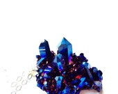 Royal Aura Quartz Crystal Necklace, Blue Titanium Quartz Statement Necklace