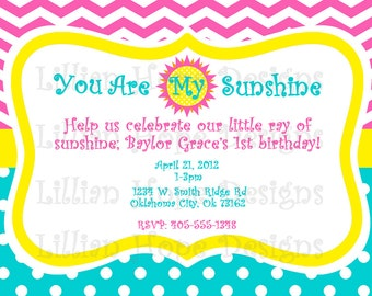 You Are My Sunshine Birthday Invitation - Turquoise - Chevron - PRINTABLE Invitation and Thank You Card