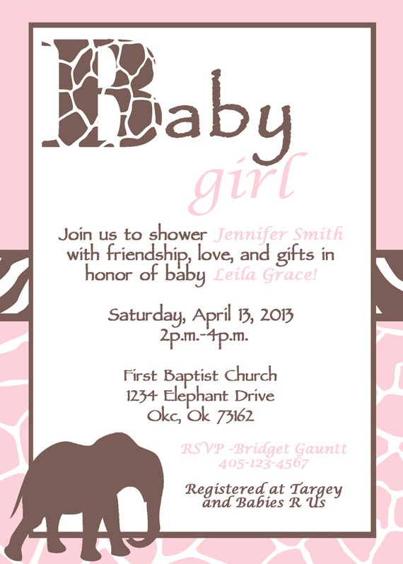 Pink And Brown Baby Shower Invitations Diabetesmangfo