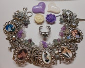 15% Off With Coupon Code Twilight New Moon Eclipse Breaking Dawn Part 1 and 2 Charm Bracelet with 4 Magnets and a Ring