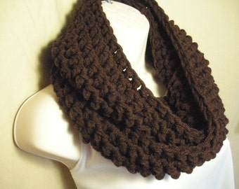 Dark Brown Cowl Infinity Circle Scarf Neckwarmer