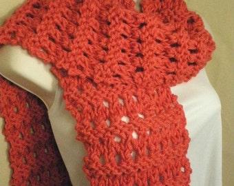 Coral Knit Eyelet Fashion Scarf Handmade