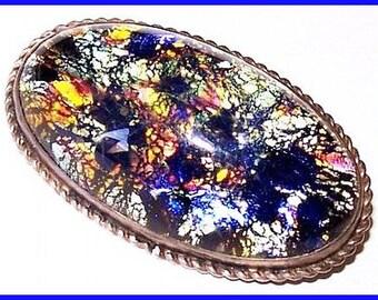 "Art Deco Sterling Silver Brooch Blue Confetti Art Glass Mardi Gras 1 1/2"" Vintage"