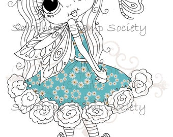 INSTANT DOWNLOAD Digital Digi Stamps Big Eye Big Head Dolls Digi  My Besties Fairy IMG122 Partly Pre Colored Digi  By Sherri Baldy