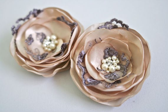 Wedding Hair Accessory Bridal Hair Flowers (2 pcs) Beige Roses, Brown, Mocca, Tan, Lace, Pearls, Rhinestone, Bridesmaids Flowers