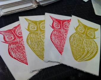 Woodblock printed owl greeting card -- variety of colors available