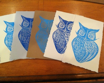 Woodblock printed owl greeting card -- several color options