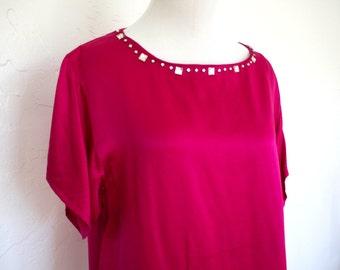 80's Hot Pink Silk Blouse with Rhinestone Trim