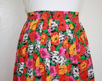 Vintage Bright Floral Pleated Skirt