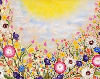 Wildflowers Painting ACRYLIC on WOOD