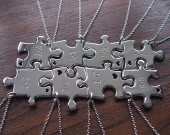 8 Puzzle Pendants with two Initials and hearts