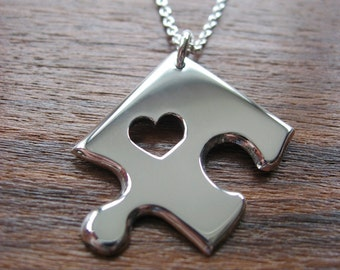 Silver Jigsaw Puzzle Necklace Pendant