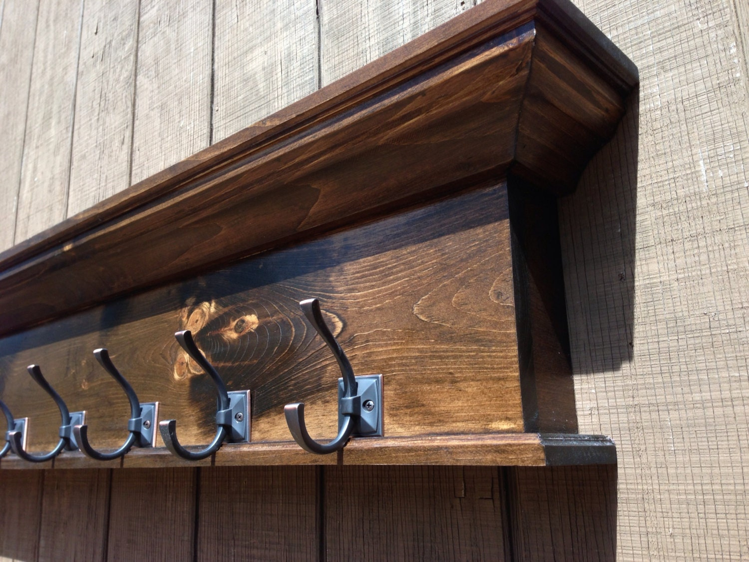 Rustic Coat Rack Shelf With Hooks Towel By Rayscustomwoodwork