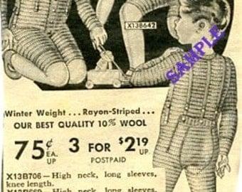 Digital Download-Wool Underwear for Toddlers-Vintage Sears Catalog item