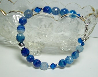 Sterling Silver Blue Fire Agate Bracelet. Blue Fire Agate and Swarovski Crystal Bracelet. Dressy Bracelet. Blue Stone Bracelet.
