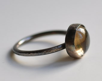 Sterling silver smoky quartz cabochon ring, hammered, hand forged, unique, oxidized