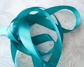 Caribbean Teal Satin Ribbon 5/8 -- 3 yards -- Double Faced -- 16mm